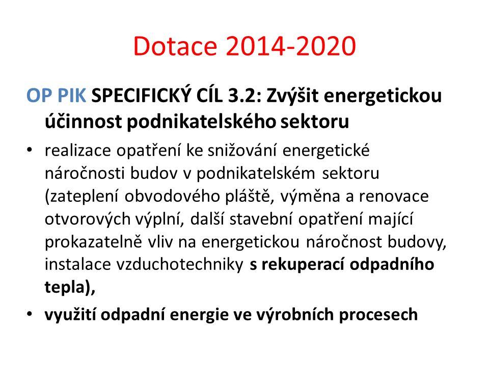 Dotace 2014-2020 OP PIK SPECIFICKÝ CÍL 3.2: Zvýšit energetickou účinnost podnikatelského sektoru.