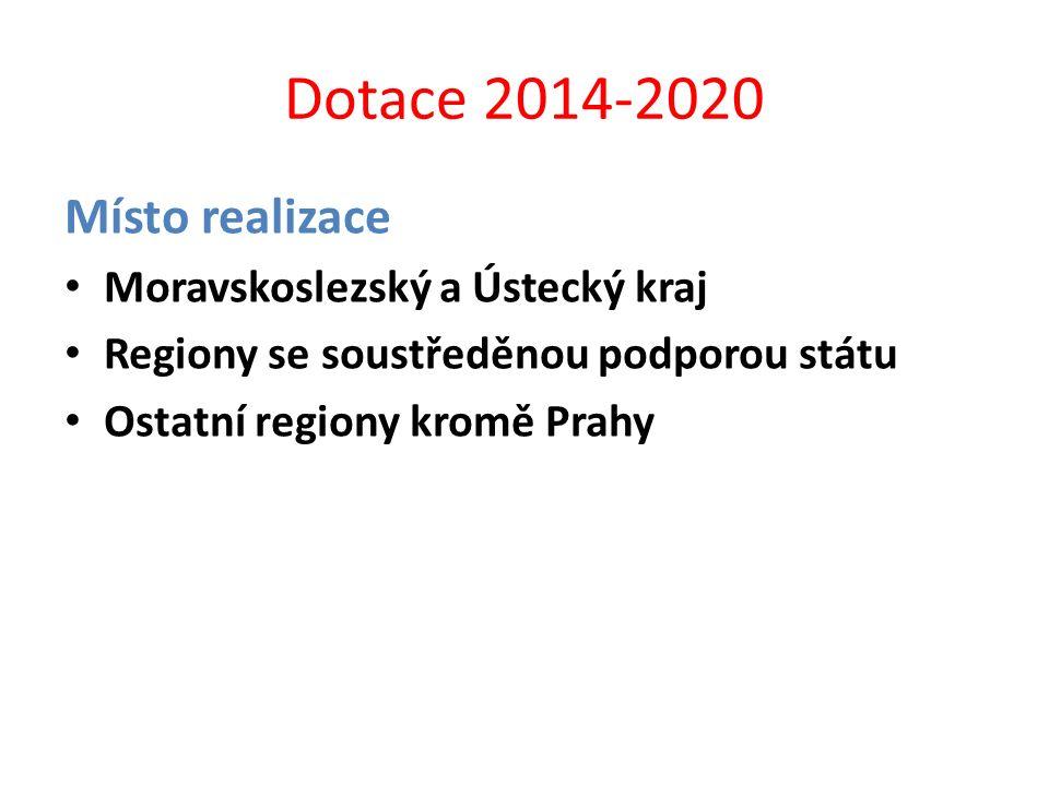 Dotace 2014-2020 Místo realizace Moravskoslezský a Ústecký kraj
