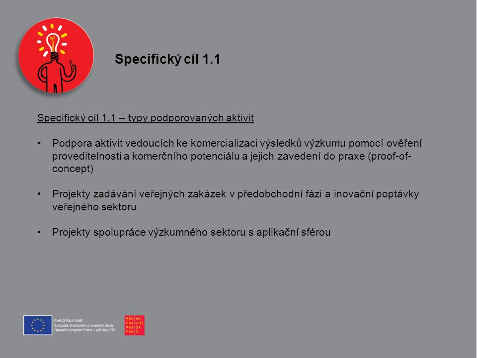 Specifický cíl 1.1 Specifický cíl 1.1 – typy podporovaných aktivit