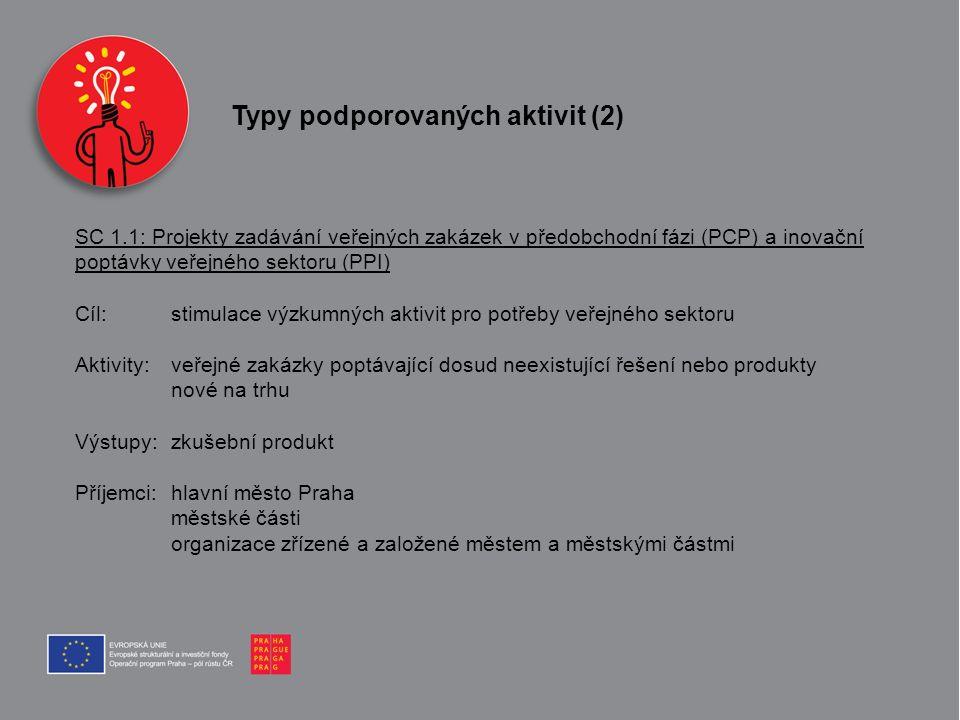 Typy podporovaných aktivit (2)