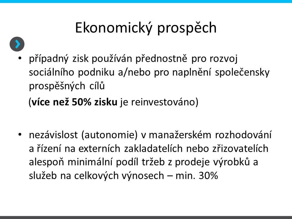 Ekonomický prospěch případný zisk používán přednostně pro rozvoj sociálního podniku a/nebo pro naplnění společensky prospěšných cílů.