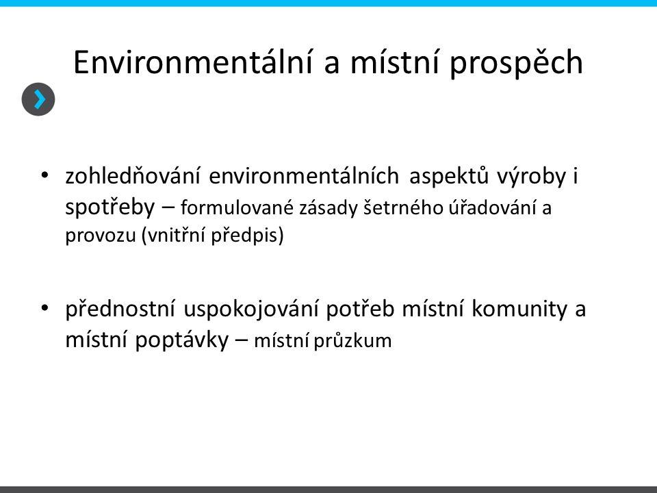Environmentální a místní prospěch