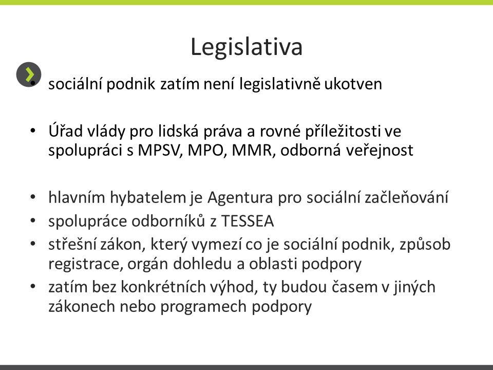 Legislativa sociální podnik zatím není legislativně ukotven