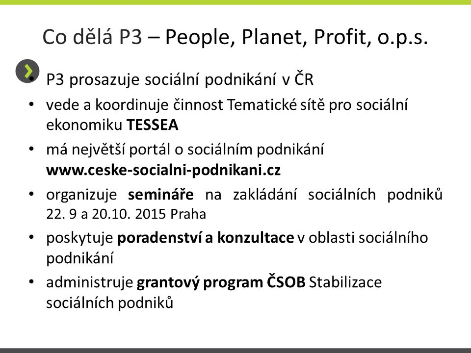 Co dělá P3 – People, Planet, Profit, o.p.s.