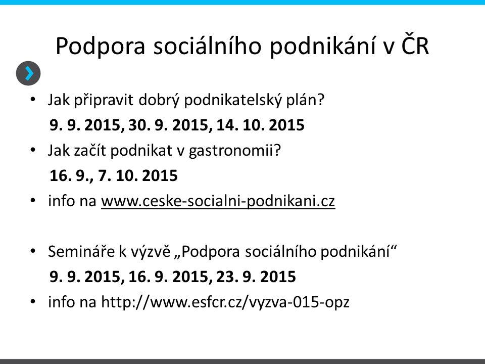 Podpora sociálního podnikání v ČR