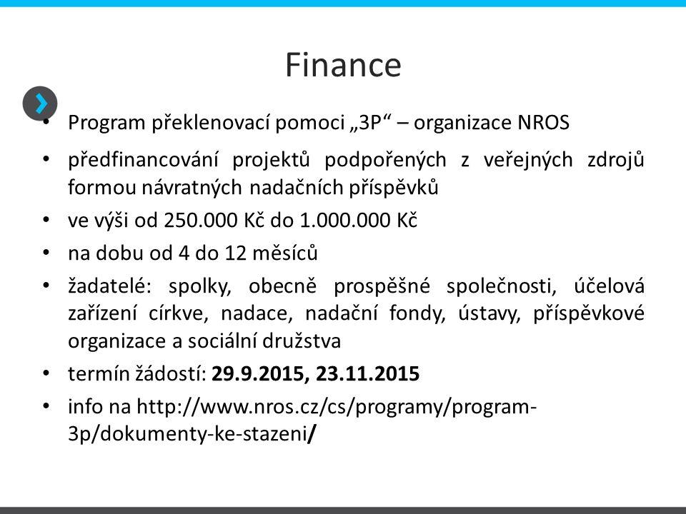 """Finance Program překlenovací pomoci """"3P – organizace NROS"""