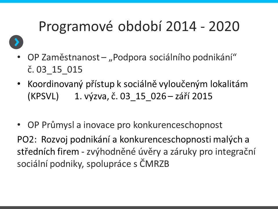 """Programové období 2014 - 2020 OP Zaměstnanost – """"Podpora sociálního podnikání č. 03_15_015."""