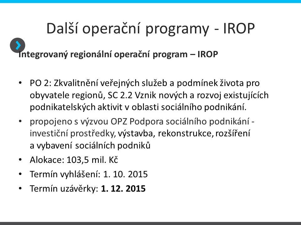 Další operační programy - IROP