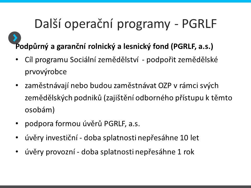 Další operační programy - PGRLF