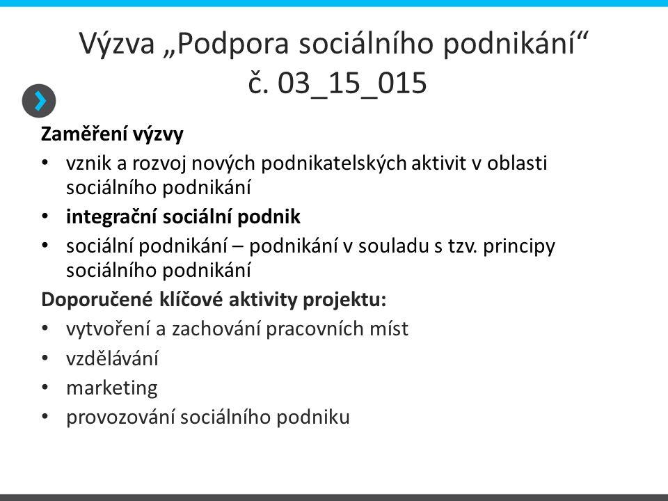 """Výzva """"Podpora sociálního podnikání č. 03_15_015"""