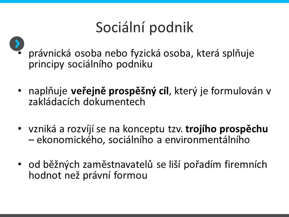 Sociální podnik právnická osoba nebo fyzická osoba, která splňuje principy sociálního podniku.