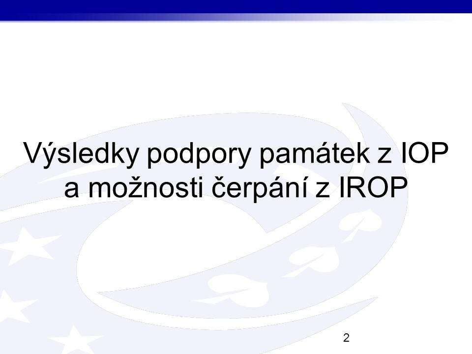 Výsledky podpory památek z IOP a možnosti čerpání z IROP