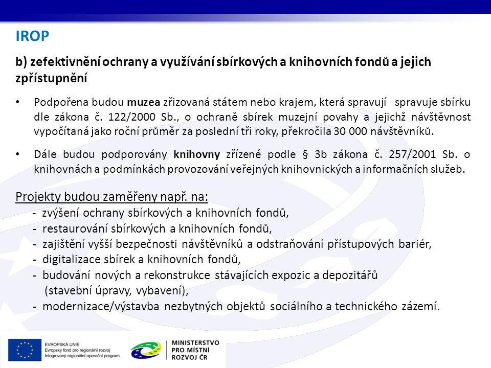 IROP b) zefektivnění ochrany a využívání sbírkových a knihovních fondů a jejich zpřístupnění.