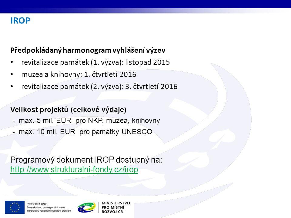 IROP Předpokládaný harmonogram vyhlášení výzev