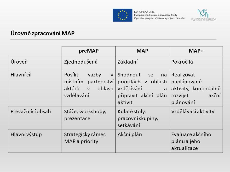 Úrovně zpracování MAP preMAP MAP MAP+ Úroveň Zjednodušená Základní