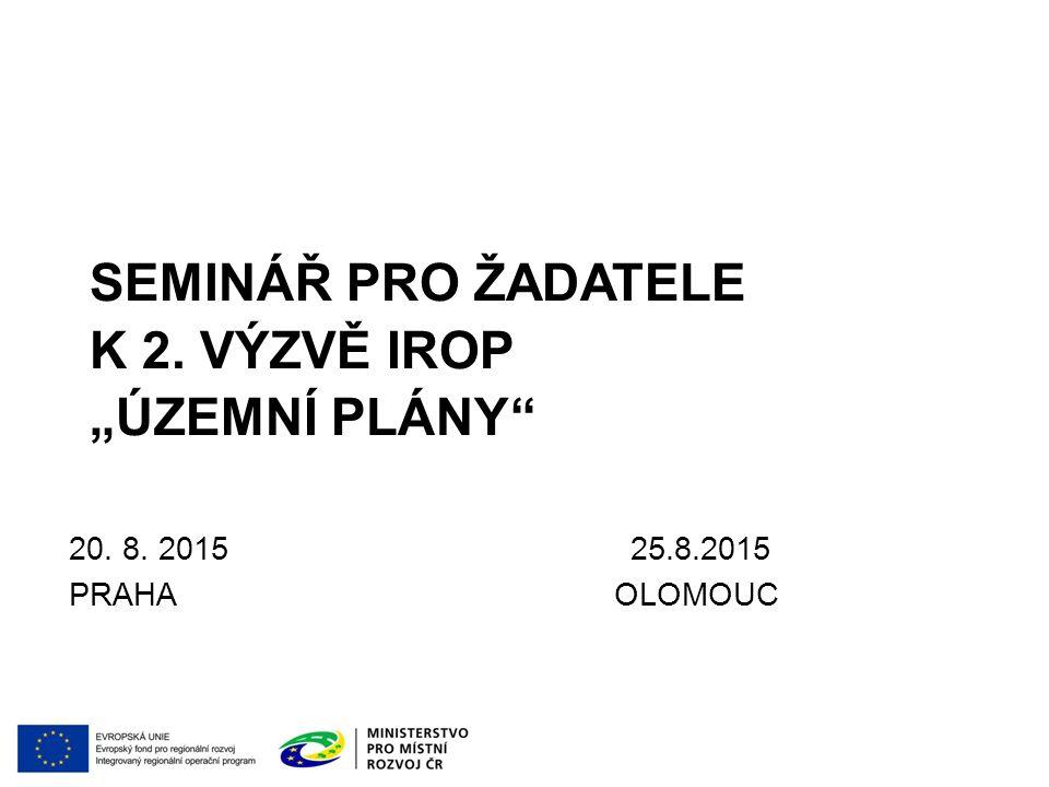 """seminář pro žadatele k 2. výzvě IROP """"Územní plány"""