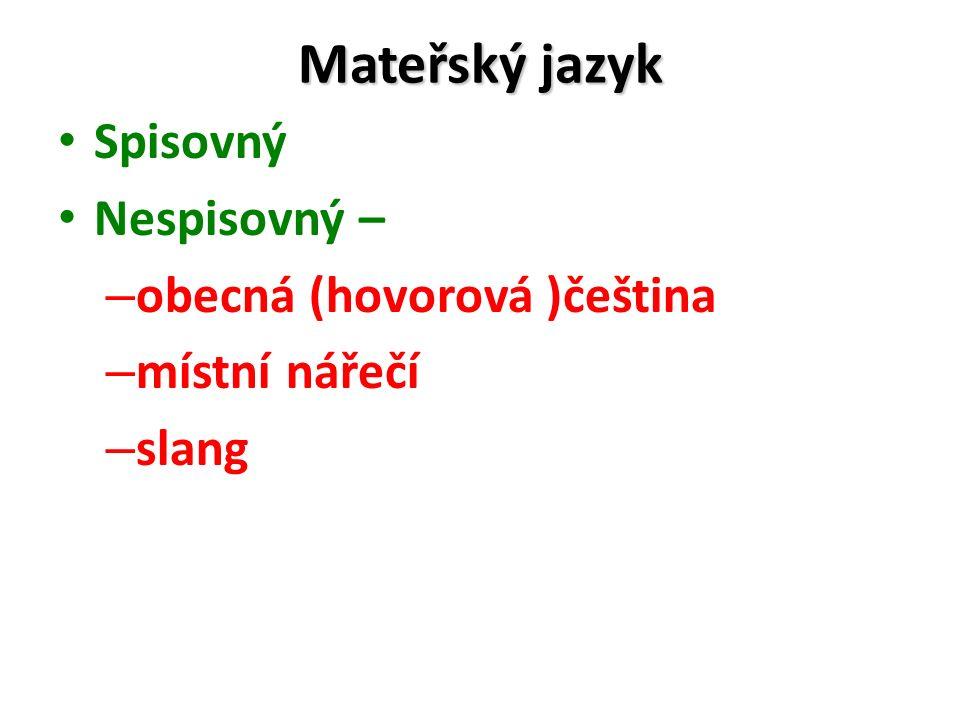 Mateřský jazyk Spisovný Nespisovný – obecná (hovorová )čeština