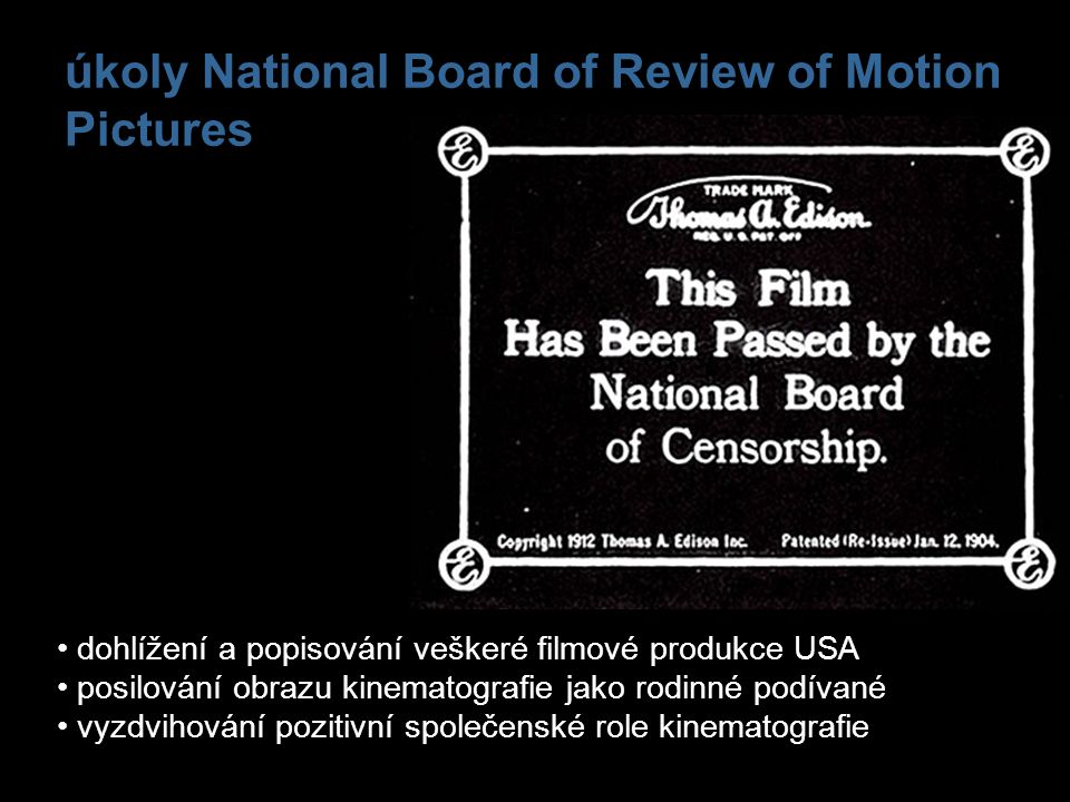 úkoly National Board of Review of Motion Pictures