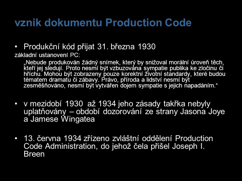 vznik dokumentu Production Code