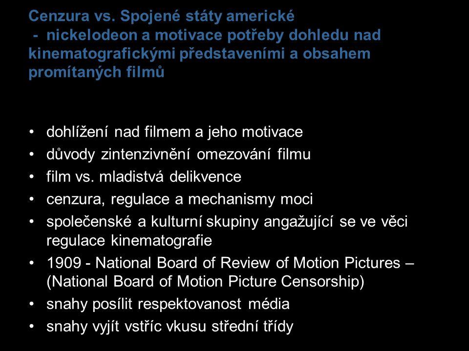 Cenzura vs. Spojené státy americké - nickelodeon a motivace potřeby dohledu nad kinematografickými představeními a obsahem promítaných filmů