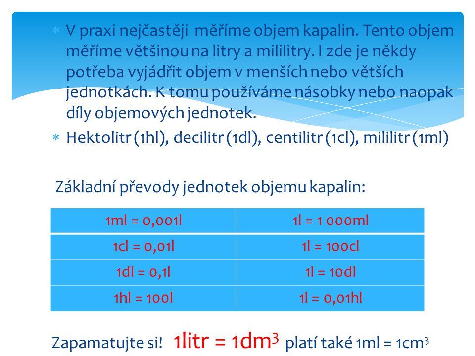Hektolitr (1hl), decilitr (1dl), centilitr (1cl), mililitr (1ml)