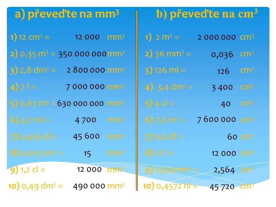 a) převeďte na mm3 b) převeďte na cm3 1) 12 cm3 = mm3 2) 0,35 m3 = mm3