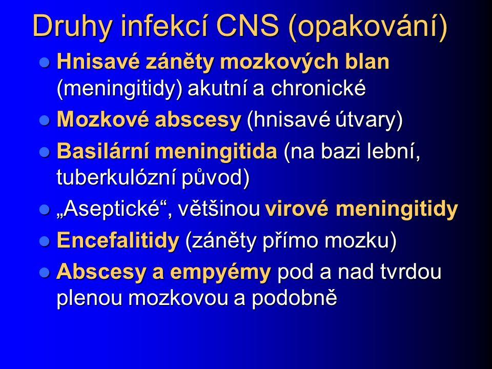 Druhy infekcí CNS (opakování)