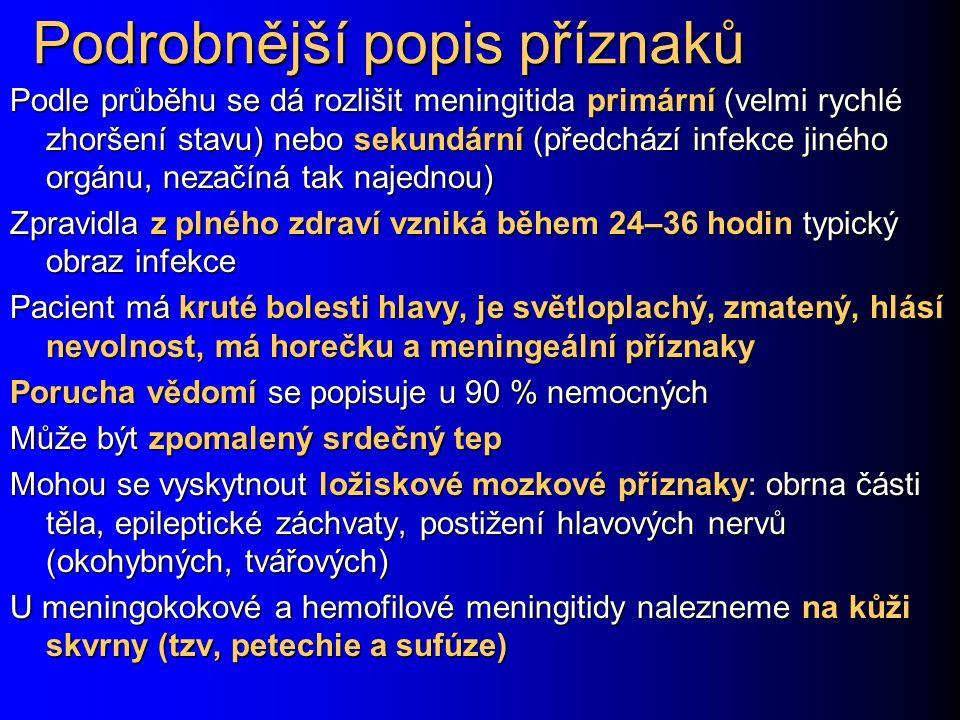 Podrobnější popis příznaků