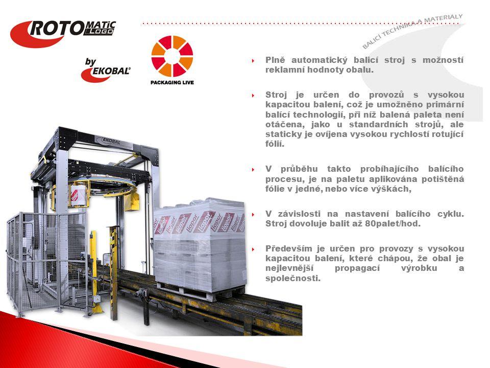 Plně automatický balicí stroj s možností reklamní hodnoty obalu.