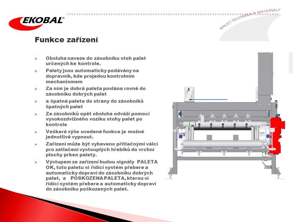Funkce zařízení Obsluha naveze do zásobníku stoh palet určených ke kontrole.
