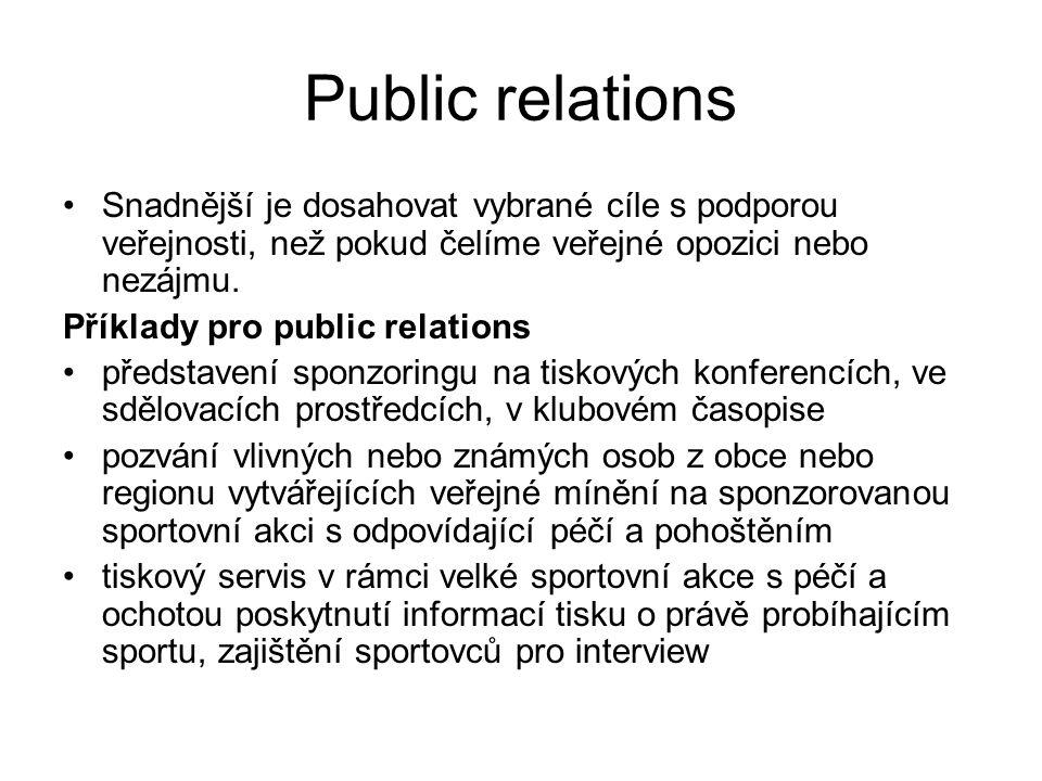 Public relations Snadnější je dosahovat vybrané cíle s podporou veřejnosti, než pokud čelíme veřejné opozici nebo nezájmu.