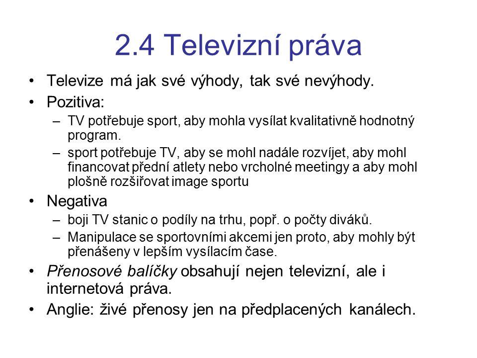 2.4 Televizní práva Televize má jak své výhody, tak své nevýhody.