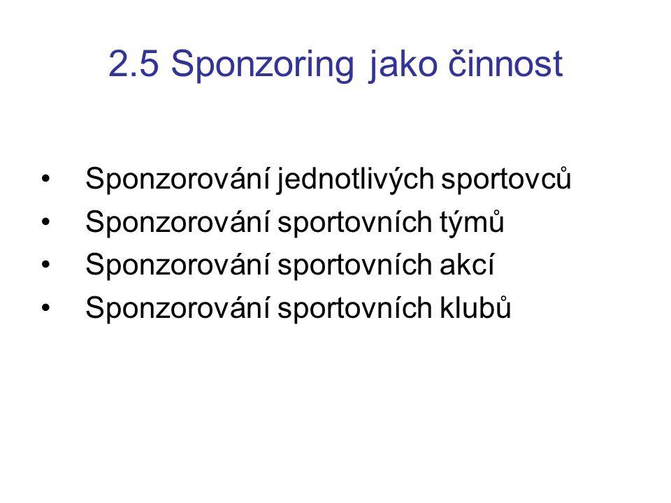 2.5 Sponzoring jako činnost