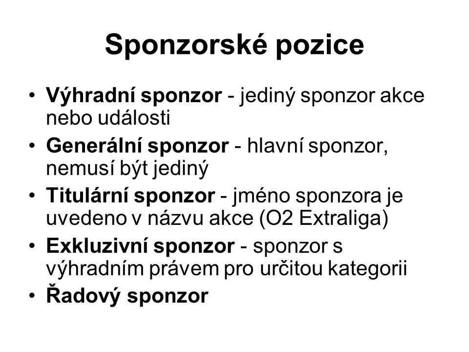 Sponzorské pozice Výhradní sponzor - jediný sponzor akce nebo události