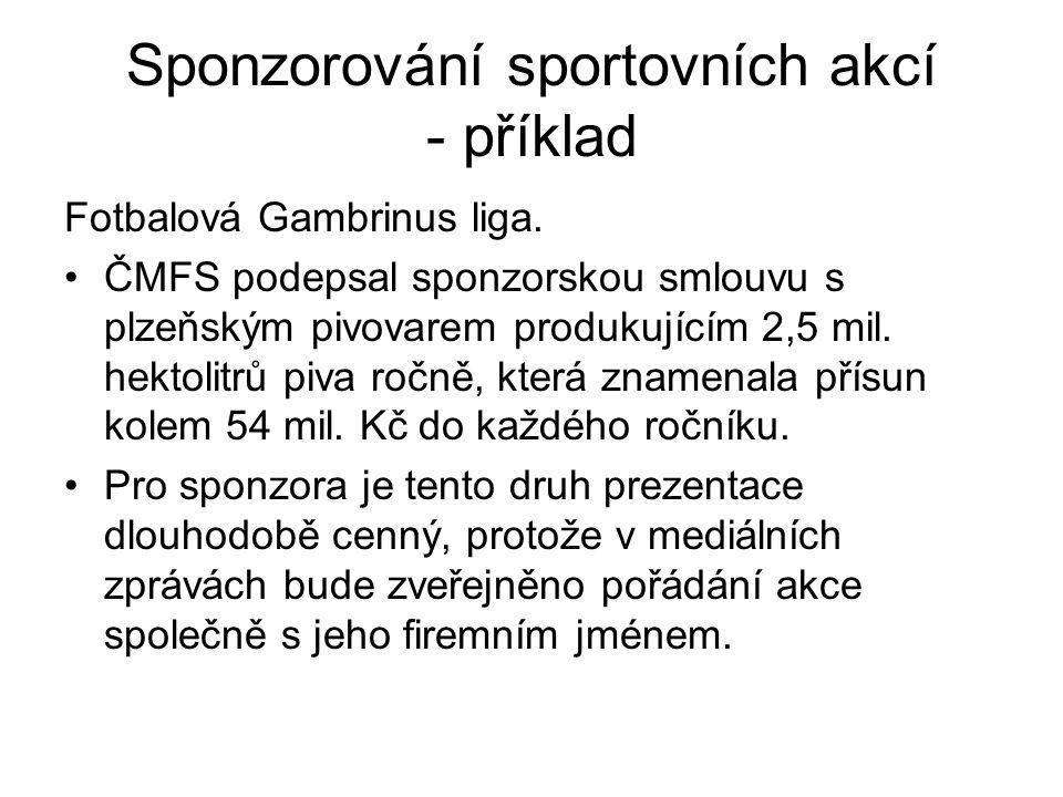 Sponzorování sportovních akcí - příklad