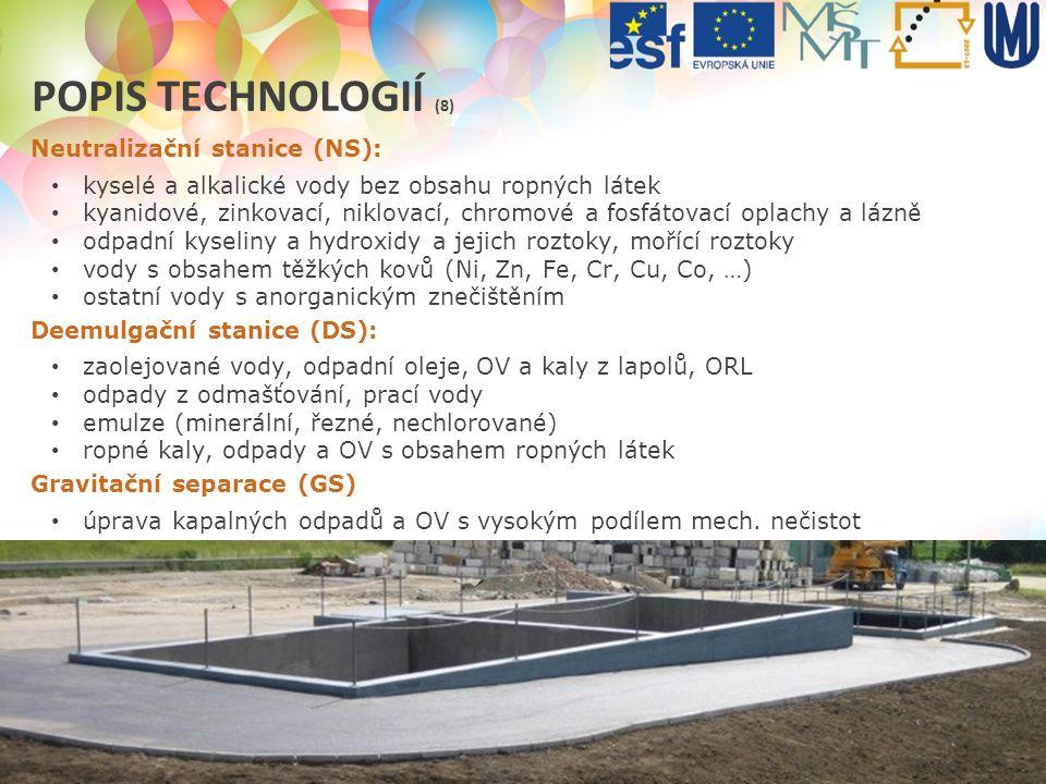 Popis technologií (8) Neutralizační stanice (NS):