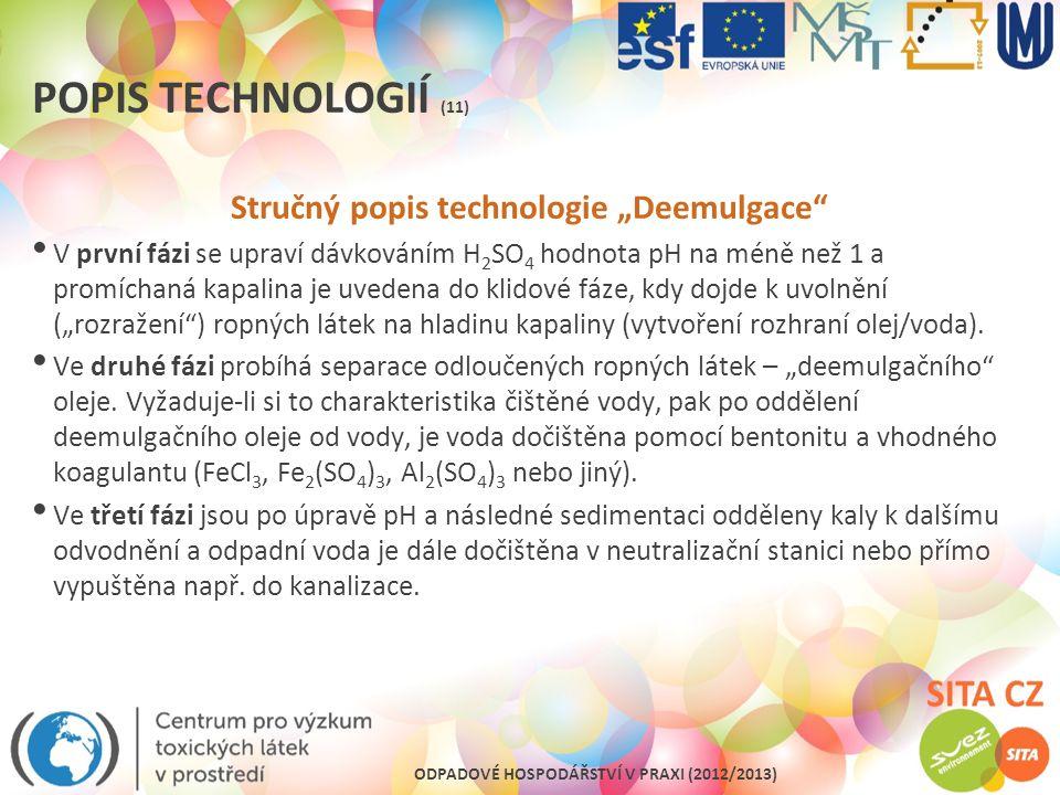"""Stručný popis technologie """"Deemulgace"""