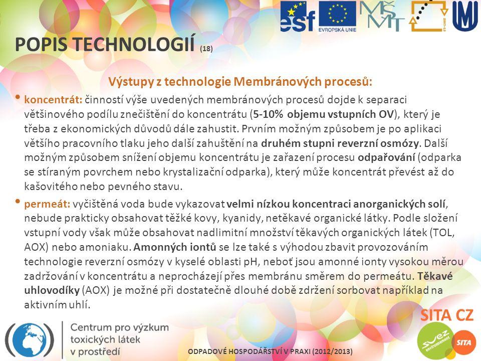 Výstupy z technologie Membránových procesů: