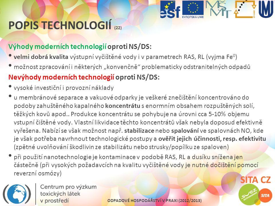 Popis technologií (22) Výhody moderních technologií oproti NS/DS:
