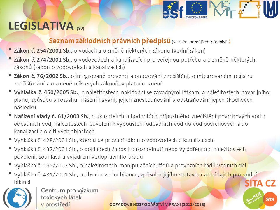 Seznam základních právních předpisů (ve znění pozdějších předpisů):