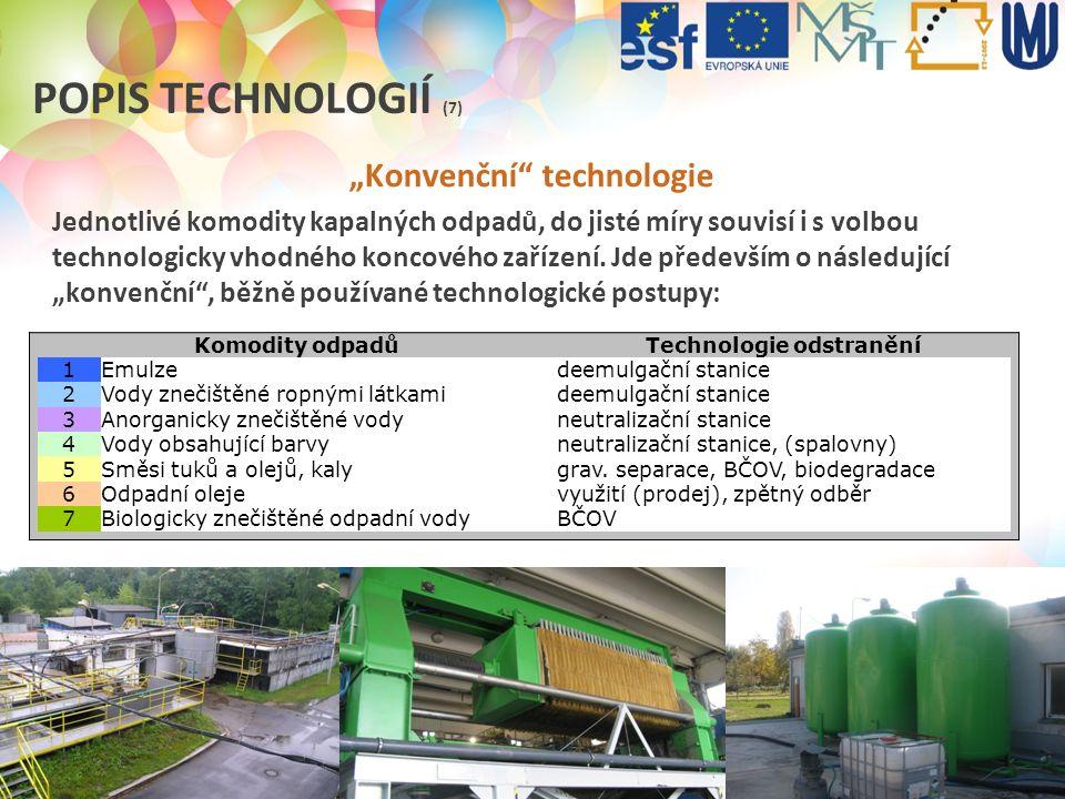 """""""Konvenční technologie Technologie odstranění"""