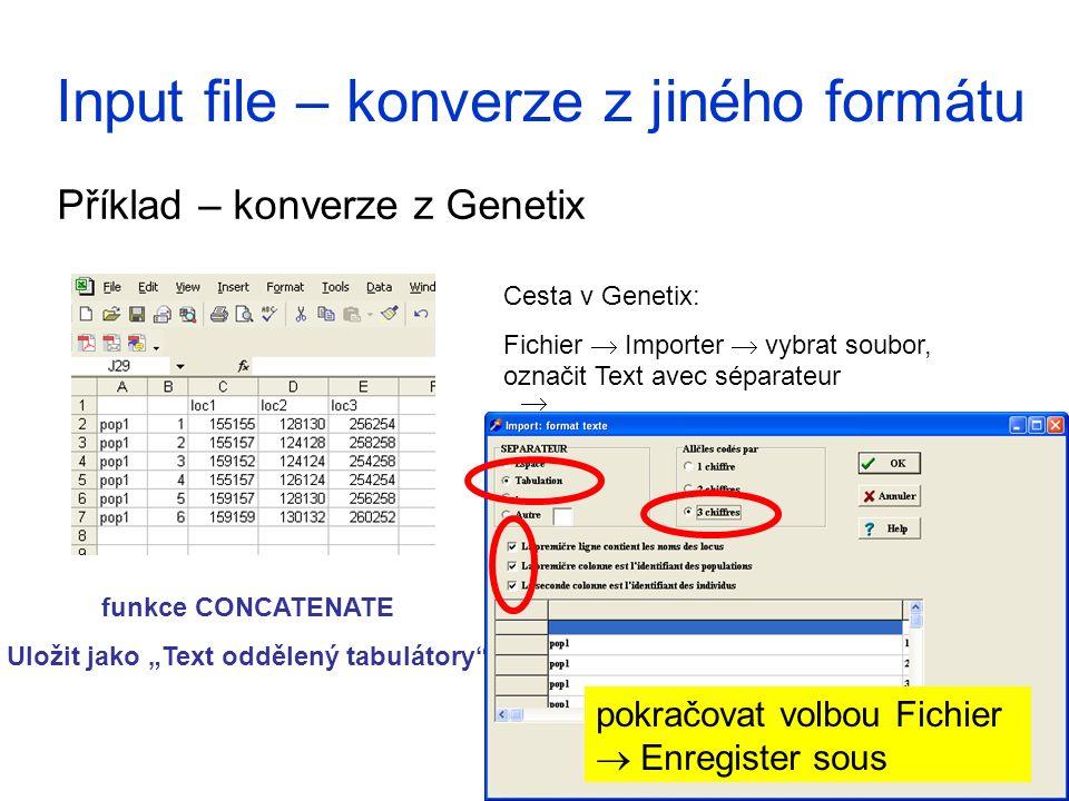 Input file – konverze z jiného formátu