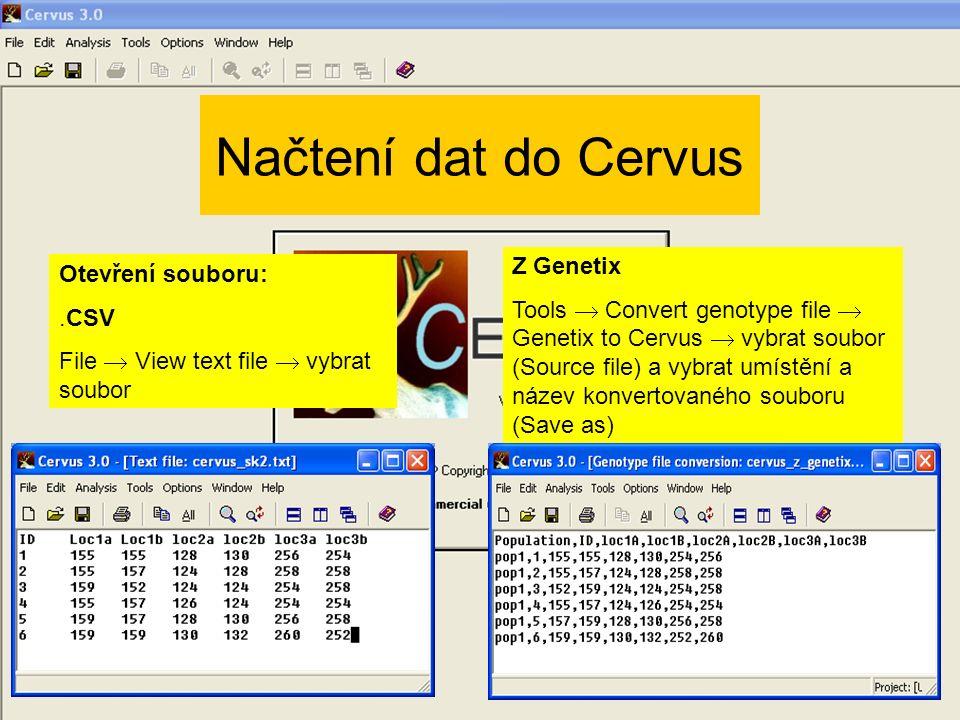 Načtení dat do Cervus Z Genetix Otevření souboru: