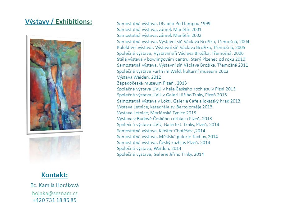 Výstavy / Exhibitions: