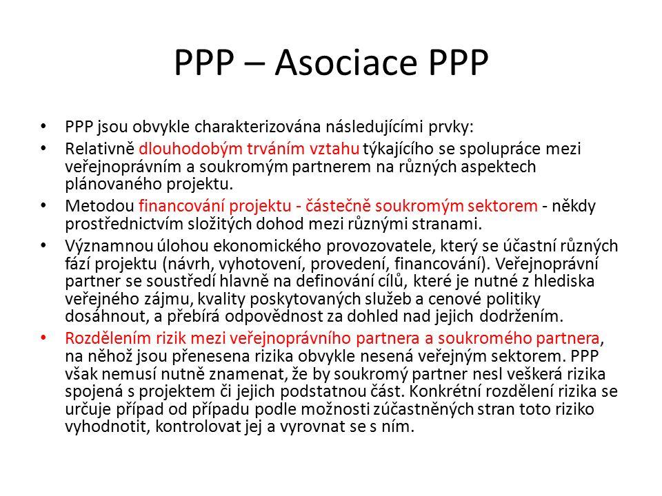 PPP – Asociace PPP PPP jsou obvykle charakterizována následujícími prvky: