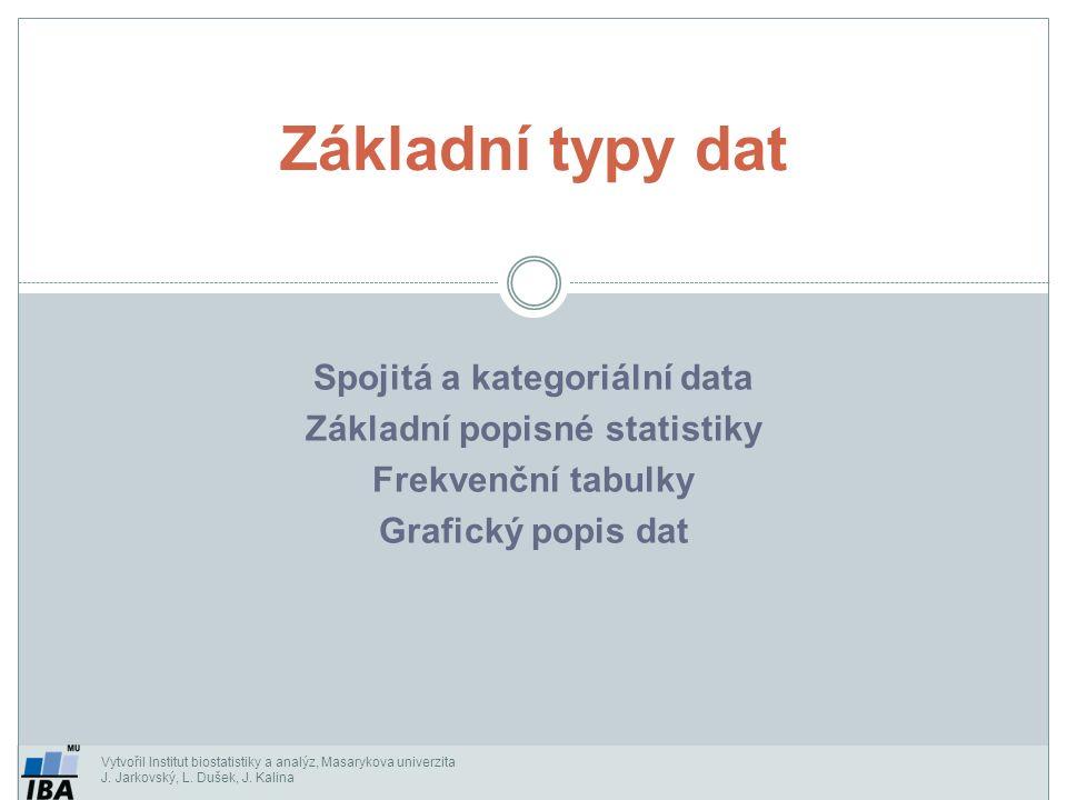 Spojitá a kategoriální data Základní popisné statistiky