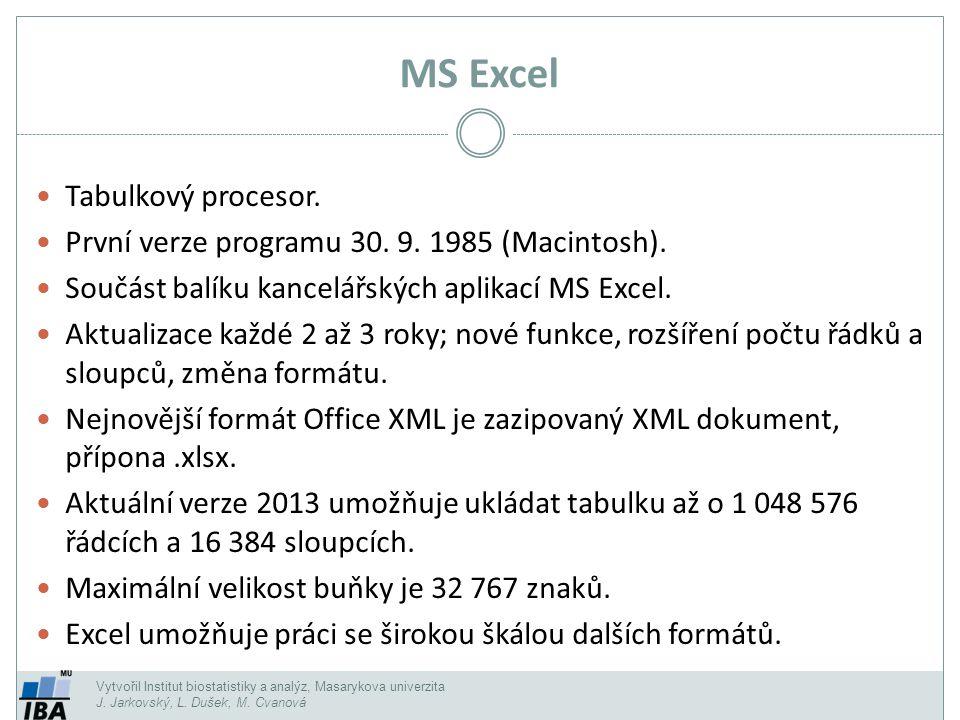 MS Excel Tabulkový procesor.