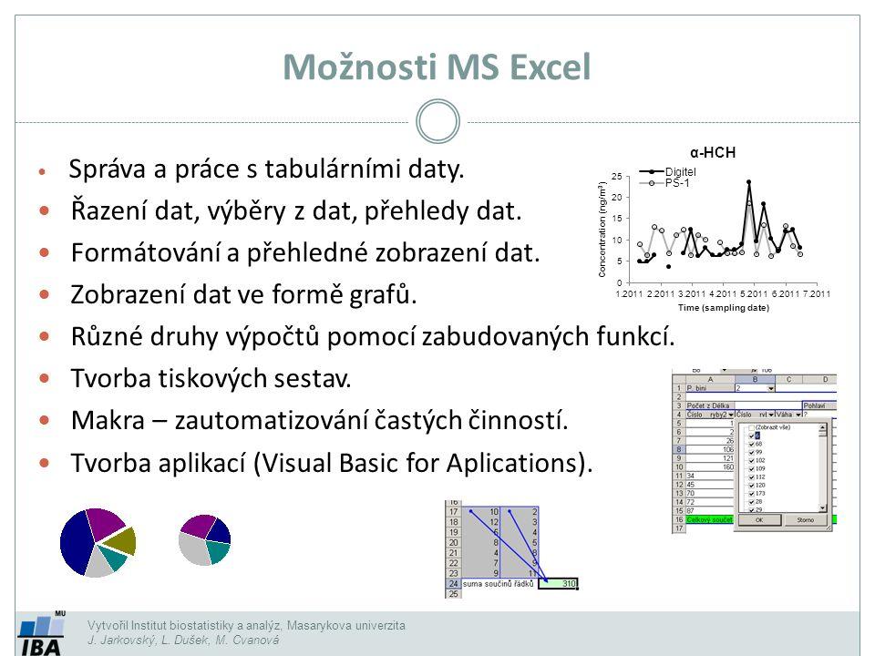Možnosti MS Excel Řazení dat, výběry z dat, přehledy dat.