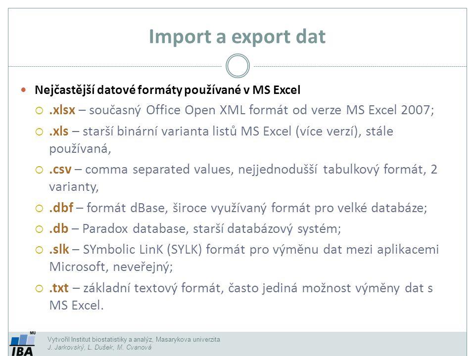 Import a export dat Nejčastější datové formáty používané v MS Excel. .xlsx – současný Office Open XML formát od verze MS Excel 2007;