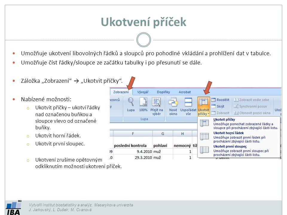 Ukotvení příček Umožňuje ukotvení libovolných řádků a sloupců pro pohodlné vkládání a prohlížení dat v tabulce.